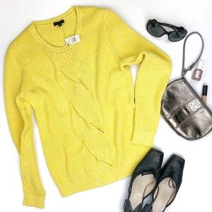 Talbots Daffodil Yellow Cotton Medium Knit Sweater